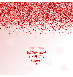 greeting card with hearts red sparkle vector image