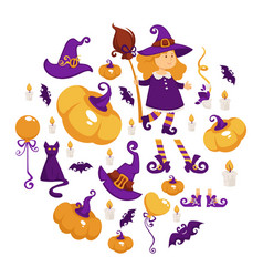 Halloween party girl in witch costume trick vector