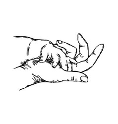 hand of baby on mother sketch hand vector image