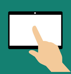 hand touching blank screen of tablet computer vector image