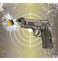 Handgun Beretta Elite with camomile vector