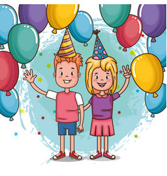happy birthday card with little kids vector image