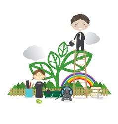 Happy People Grow A Big Tree Green Concept vector image
