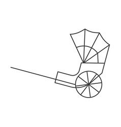 Hong kong rickshaw icon outline design vector