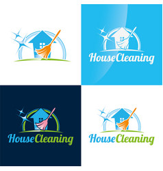 house cleaning icon and logo vector image