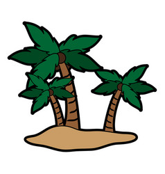 isolated island with palm trees icon image vector image
