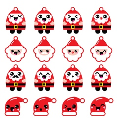 Kawaii Santa Claus cute character icons - head vector image