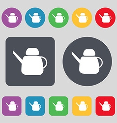 Kettle Icon sign A set of 12 colored buttons Flat vector