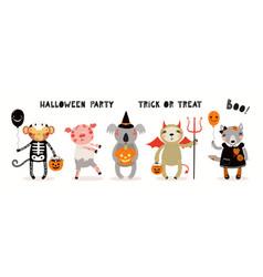 Kids halloween cute animals vector