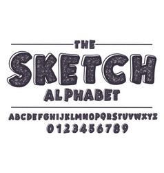 latin alphabet bold font in cute sketch texture vector image