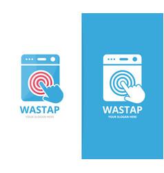 Laundry and click logo combination vector