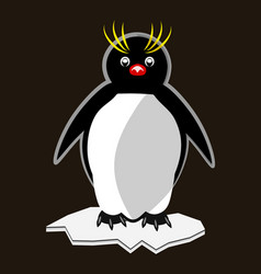 Little funny pinguin standing on ice floe vector