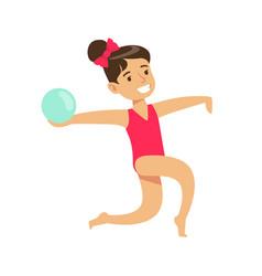 little girl doing rhythmic gymnastics exercise vector image