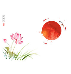 lotus flowers little koi carp fishes and big red vector image