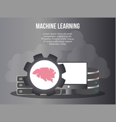 machine learning concept design template vector image