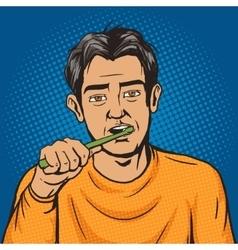Man brushing his teeth morning pop art vector