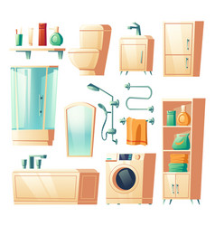 Modern bathroom furniture cartoon vector
