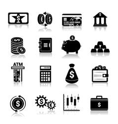 Money finance icons black vector image