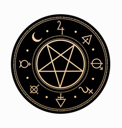 Mystical symbols around pentagram vector
