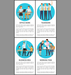 Office team work on business idea promo posters vector