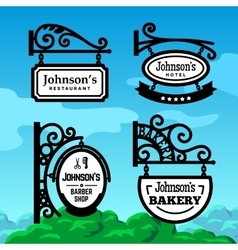 Old-fashioned Shop Signs vector image
