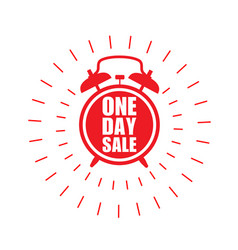 One day sale sticker - sale label with ringing vector
