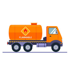 Orange tanker truck carries gasoline the vector