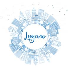 Outline lugano switzerland skyline with blue vector
