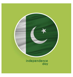 Pakistans flag badge for independence day on vector