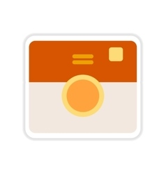 Paper sticker on white background retro camera vector
