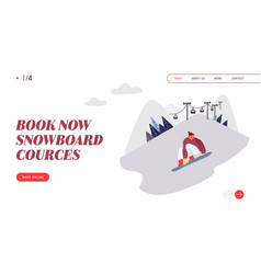 people snowboarding website landing page vector image