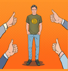 Pop art man wearing in t-shirt with bitcoin print vector