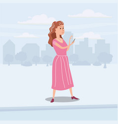 printgirl teenager looks in smartphone on the go vector image