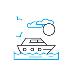 private yacht thin line stroke icon vector image