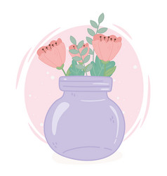purple mason jar with flowers decoration vector image
