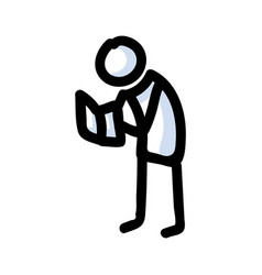 Reading stick figure person standing with book vector