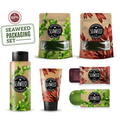 Realistic sea weed cosmetic packaging vector