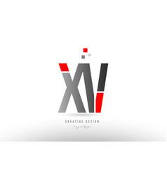 Red grey alphabet letter xv x v logo combination vector