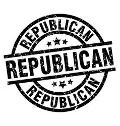 republican round grunge black stamp vector image
