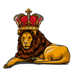 Royal lion with crown - animal king head with long vector