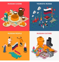 Russian Isometric Touristic 2x2 Icons Set vector image