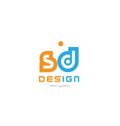 Sd s d orange blue alphabet letter logo vector