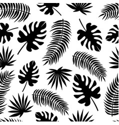 seamless pattern with black silhouettes leaves vector image