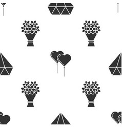 set diamond balloons in form heart with ribbon vector image