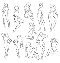 Set female figures collection outlines of vector