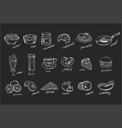 set hand drawn food and drinks on black vector image