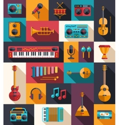 set modern flat design musical instruments vector image