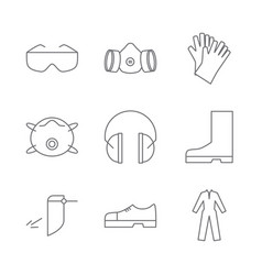 Set of safety equipment icons vector