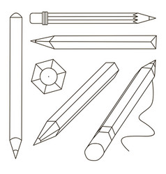 set stylized realistic pens and pencils vector image