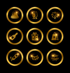 shine gold festive icons collection vector image